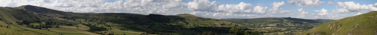This is a panorama of Hope Valley at Castleton in Derbyshire. The image consists of 8 separate photographs joined together.